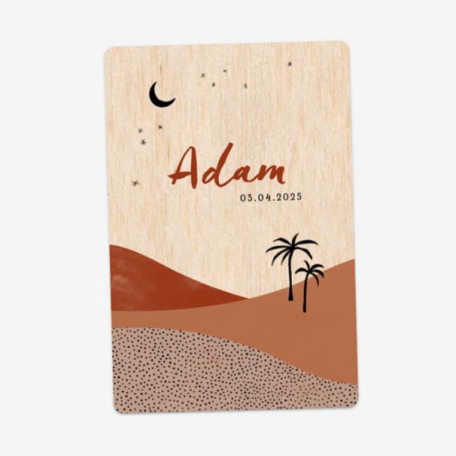 Geboortekaartje Woestijn - echt hout