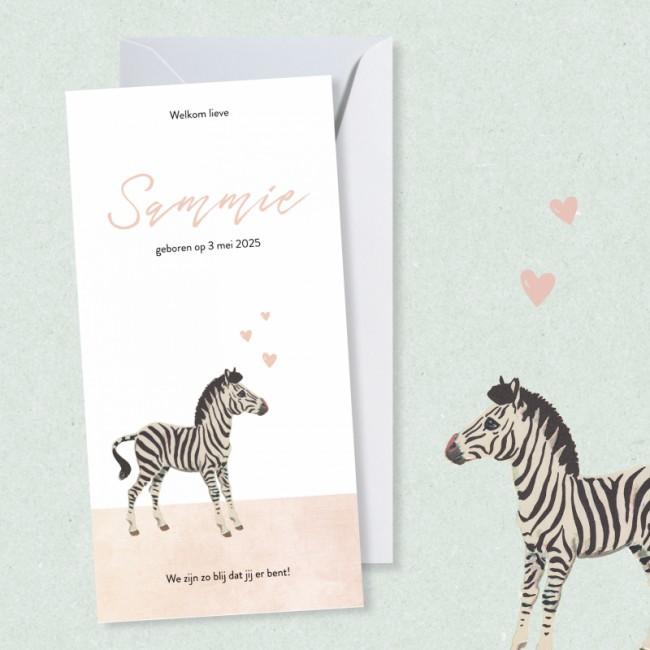 Geboortekaartje Zebra met hartjes