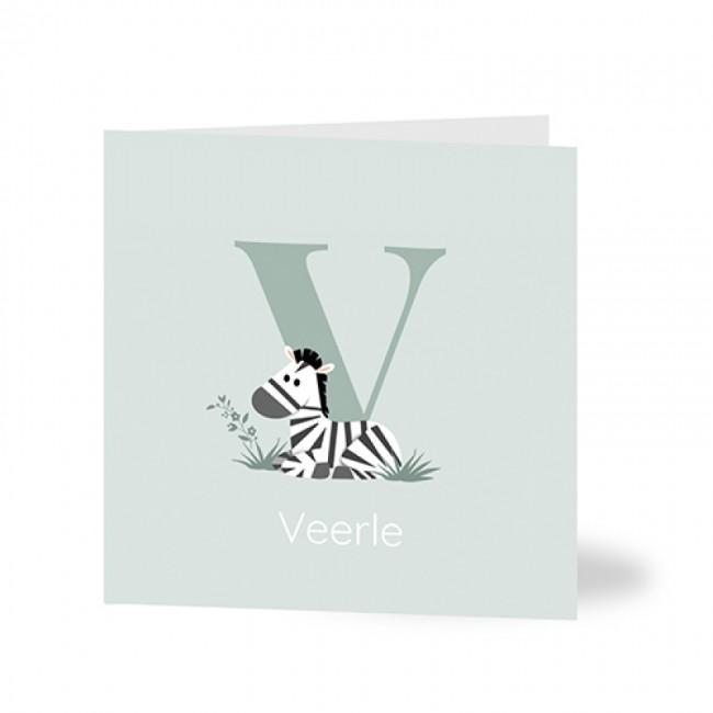 Geboortekaartje zebra typografie